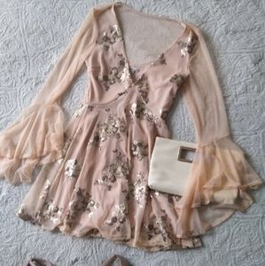 Peach Dress with sequin detail